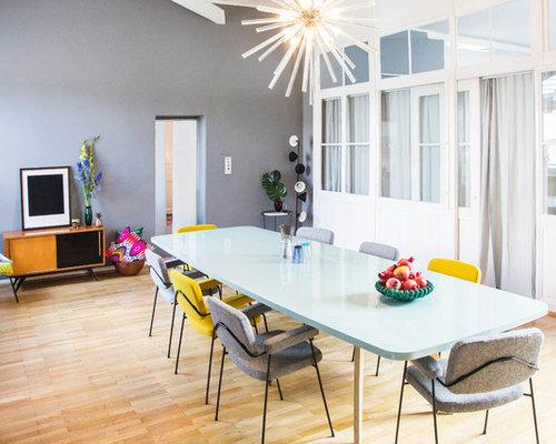 geschlossene esszimmer mit grauer wandfarbe ideen design bilder houzz. Black Bedroom Furniture Sets. Home Design Ideas