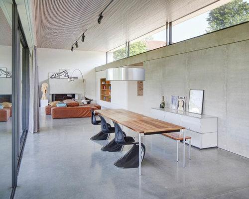 Esszimmer mit kamin und grauer wandfarbe ideen design - Esszimmer stuttgart ...