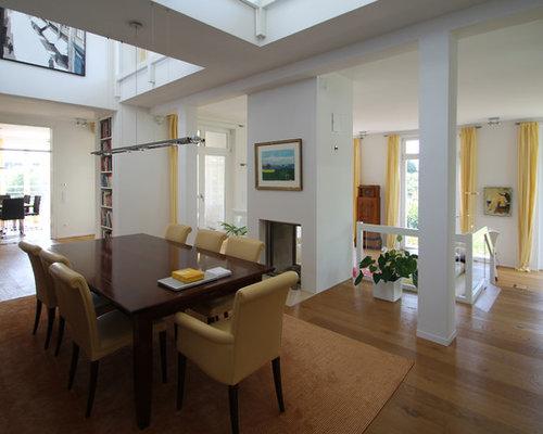 sala da pranzo aperta verso il soggiorno con camino bifacciale e ... - Soggiorno Con Camino Bifacciale 2
