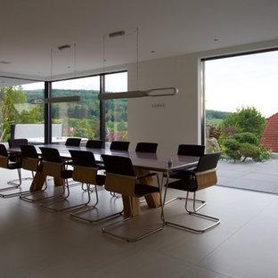 Ispirazione per una grande sala da pranzo aperta verso il soggiorno contemporanea con pareti bianche, pavimento in cemento, camino ad angolo, cornice del camino in intonaco e pavimento bianco