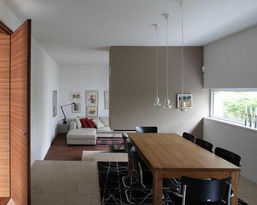 sala da pranzo aperta verso il soggiorno con camino bifacciale e ... - Soggiorno Con Camino Bifacciale