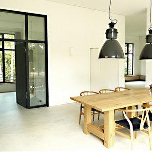 Idee per una grande sala da pranzo aperta verso il soggiorno contemporanea con pareti bianche, pavimento in cemento, camino bifacciale e cornice del camino in intonaco