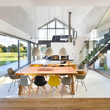 offener Wohnbereich, Esszimmer und Glasfassade