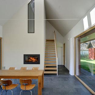 На фото: гостиные-столовые среднего размера в современном стиле с белыми стенами, полом из сланца, стандартным камином и фасадом камина из металла