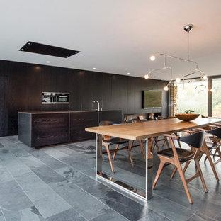 Geräumiges Modernes Esszimmer mit weißer Wandfarbe, Schieferboden, Tunnelkamin, Kaminsims aus Holz und grauem Boden in Dortmund