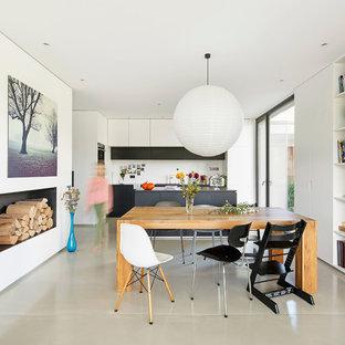 Esempio di una sala da pranzo minimal chiusa e di medie dimensioni con pareti bianche, pavimento in cemento, camino classico, cornice del camino in intonaco e pavimento grigio