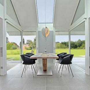Offenes, Großes Modernes Esszimmer ohne Kamin mit weißer Wandfarbe, Keramikboden und grauem Boden in Sonstige