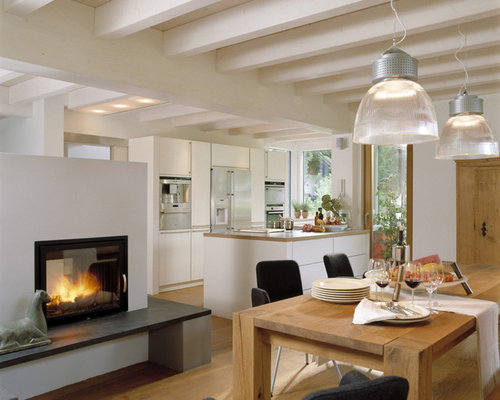 Moderne Esszimmermöbel Design weißer Esstisch Leder Stühle