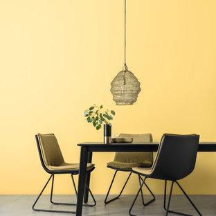 Inspiration for a contemporary dining room in Hamburg with yellow walls.