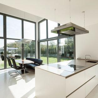 Cette image montre une grande salle à manger ouverte sur le salon design avec un mur blanc.