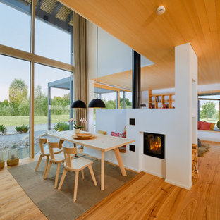 Offenes, Mittelgroßes Modernes Esszimmer mit weißer Wandfarbe, braunem Holzboden, verputztem Kaminsims und braunem Boden in Sonstige