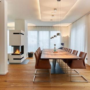 Modernes Esszimmer mit weißer Wandfarbe, braunem Holzboden, Tunnelkamin und braunem Boden in Frankfurt am Main