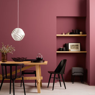 Стильный дизайн: столовая в современном стиле с красными стенами - последний тренд