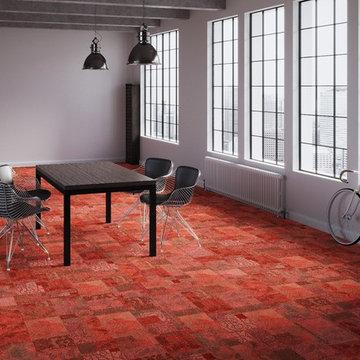 stylische Raumgestaltung mit textilen Teppichfliesen / Motion MO