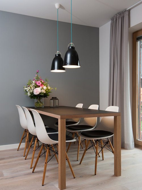 Small Danish Light Wood Floor Dining Room Photo In Other With Gray Walls