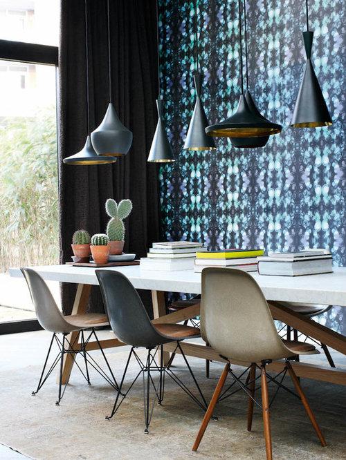 moderne esszimmer mit blauer wandfarbe ideen design bilder houzz. Black Bedroom Furniture Sets. Home Design Ideas