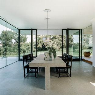 Geräumiges, Geschlossenes Modernes Esszimmer ohne Kamin mit weißer Wandfarbe, Betonboden und grauem Boden in Stuttgart