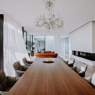 Ispirazione per una grande sala da pranzo aperta verso il soggiorno moderna con pareti bianche, pavimento in pietra calcarea, stufa a legna, cornice del camino in intonaco e pavimento grigio