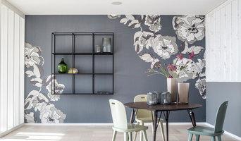 Wandbild für eine Esszimmer mit integriertem Regal