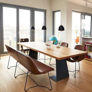 Offenes, Mittelgroßes Modernes Esszimmer mit weißer Wandfarbe und hellem Holzboden in Berlin