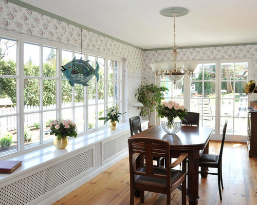 Mid sized farmhouse sunroom design ideas remodels for Farmhouse sunroom ideas
