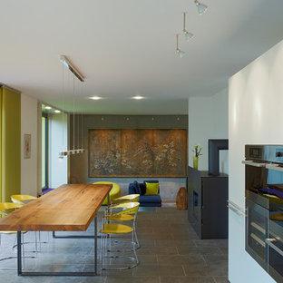 Пример оригинального дизайна: большая гостиная-столовая в современном стиле с белыми стенами, печью-буржуйкой и фасадом камина из металла