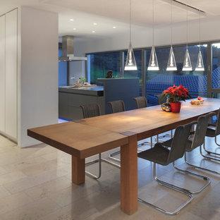 Ispirazione per una sala da pranzo aperta verso il soggiorno design di medie dimensioni con pareti bianche e pavimento in travertino