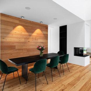 Offenes, Großes Modernes Esszimmer mit weißer Wandfarbe, hellem Holzboden, Kaminumrandung aus Stein, braunem Boden, Tunnelkamin und Holzwänden in München