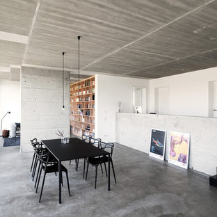 Cette photo montre une salle à manger ouverte sur le salon moderne avec un mur blanc, béton au sol, aucune cheminée et un sol gris.