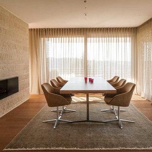 Offenes, Mittelgroßes Retro Esszimmer mit Tunnelkamin, beiger Wandfarbe, braunem Holzboden und Kaminsims aus Stein in Sonstige