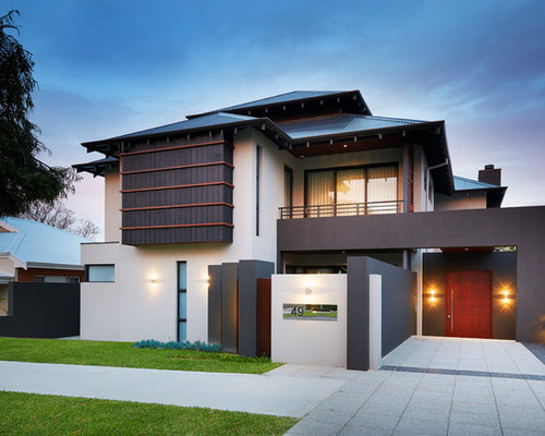 home exterior designer. design ideas for a large asian two-storey exterior in perth with hip roof home designer