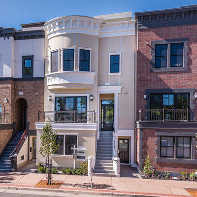 Large traditional multicolored three-story mixed siding townhouse exterior idea in San Luis Obispo