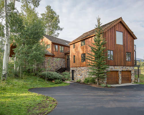 Example of a trendy stone exterior home design in Denver - Wood Panel Siding Houzz