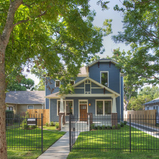 Arts and crafts blue two-story exterior home photo in Houston