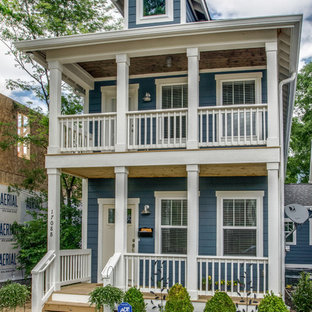 Inspiration for a small timeless blue three-story wood exterior home remodel in Nashville