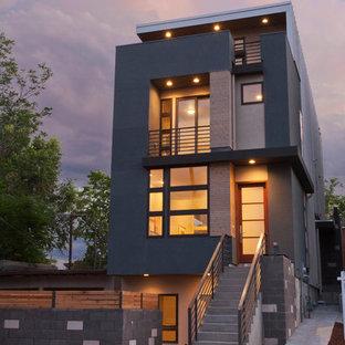 Esempio della facciata di un appartamento moderno con rivestimento in mattoni