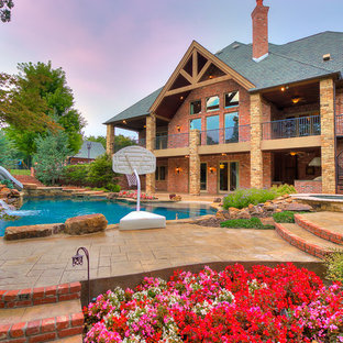 Example of a transitional exterior home design in Oklahoma City