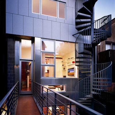 Contemporary mixed siding exterior home idea in Chicago