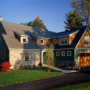 Inspiration for a timeless wood exterior home remodel in New York