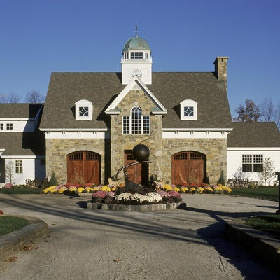 Example of a classic wood gable roof design in Other