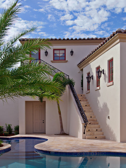 Red tile roof with white stucco ideas pictures remodel for Mediterranean stucco