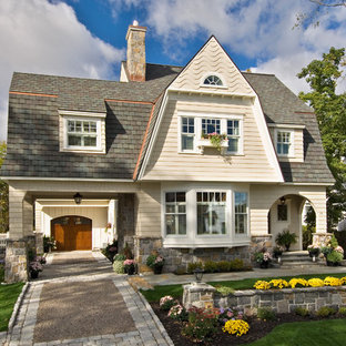 Farmhouse wood exterior home photo in Boston