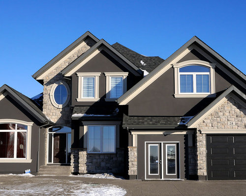 Dark stucco home design ideas pictures remodel and decor for Home exterior decorative accents