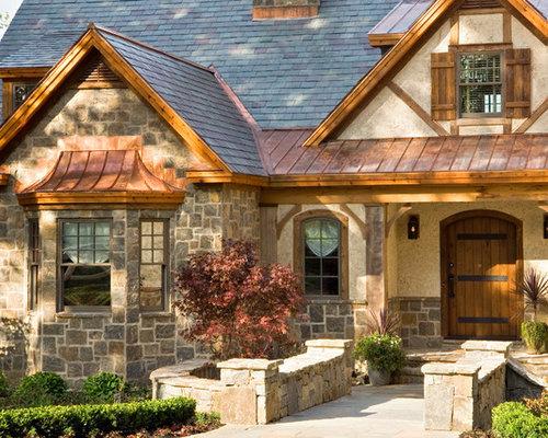 Split Roof Design: Brick Split Level Metal Roof Home Design Ideas