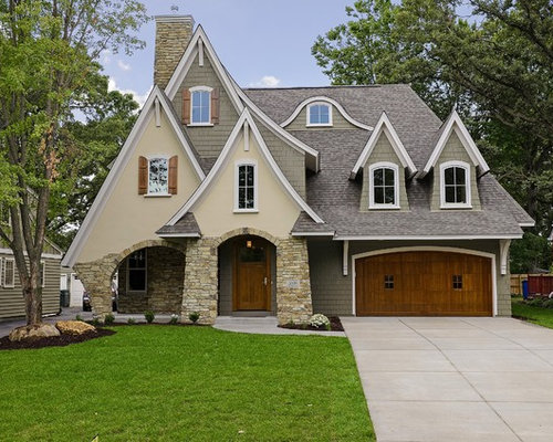 Example Of A Transitional Beige Two Story Exterior Home Design In  Minneapolis