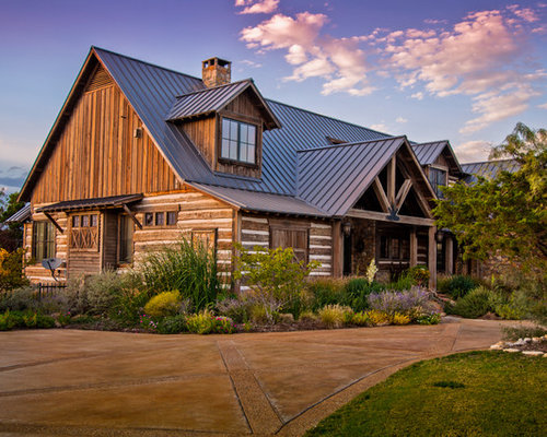 Log cabin metal roof houzz Cabins with metal roofs