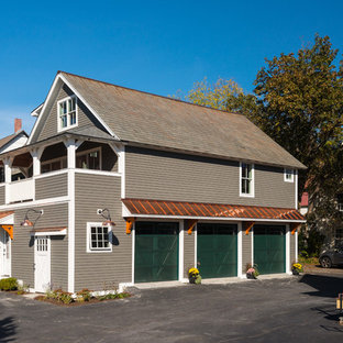 Mid-sized country brown two-story wood exterior home photo in New York with a shingle roof