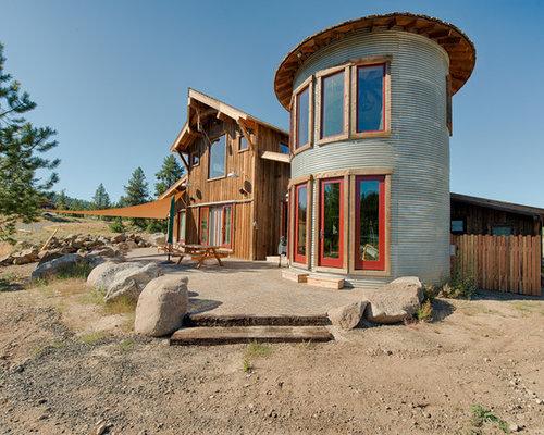 Grain bin house houzz for Silo house plans