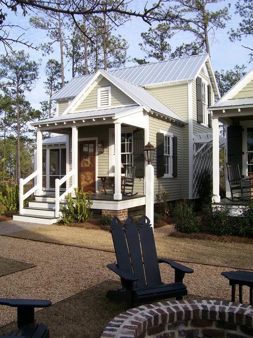 farmhouse beige exterior home idea in atlanta - House Plans Houzz