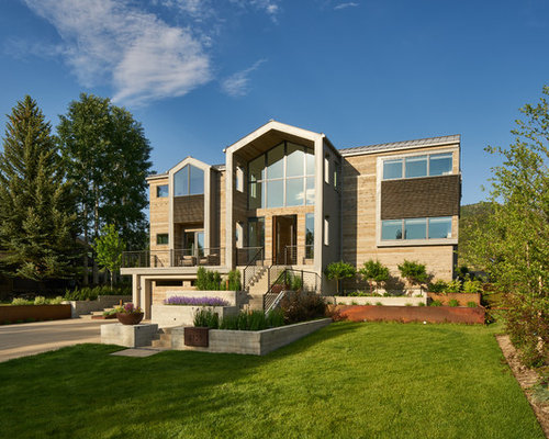 Large Trendy Brown Two Story Wood Gable Roof Photo In Salt Lake City